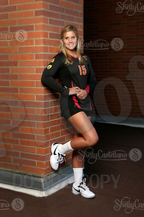 10 August 2010:  #15 Erin Yoder DS  on the Pac-10 NCAA College Women's Volleyball team for the USC Trojans Women of Troy photographed at the Galen Center on Campus in Southern California. .Images are for Personal use only.  No Model Release, No Property Release, No Commercial 3rd Party use. .Photo Credit should read: ©2010ShellyCastellano.com