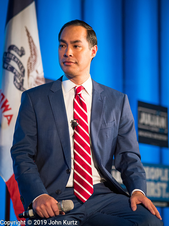 "10 DECEMBER 2019 - DES MOINES, IOWA: JULIÁN CASTRO, former Secretary of Housing and Urban Development in the Obama Administration, talks about his presidential campaign and Iowa's role as ""First in the Nation"" during a town hall meeting at Drake University in Des Moines. In recent weeks, Castro has been critical of the outsize role Iowa and New Hampshire play in the presidential selection process. His town hall tonight was to specifically discuss Iowa's role in the presidential selection process. Castro is visiting Iowa to support his bid to be the Democratic nominee for the US Presidency. Iowa traditionally hosts the the first selection event of the presidential election cycle. The Iowa Caucuses will be on Feb. 3, 2020. In recent weeks, Castro has been critical of the outsize role Iowa and New Hampshire plays in the presidential selection process.                   PHOTO BY JACK KURTZ"