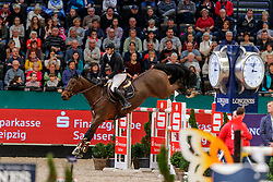 WOLF Cedric (GER), Dsp Chicitito<br /> Leipzig - Partner Pferd 2020<br /> Longines FEI Jumping World Cup™ presented by Sparkasse<br /> Sparkassen Cup - Großer Preis von Leipzig FEI Jumping World Cup™ Wertungsprüfung <br /> Springprüfung mit Stechen, international<br /> Höhe: 1.55 m<br /> 19. Januar 2020<br /> © www.sportfotos-lafrentz.de/Stefan Lafrentz
