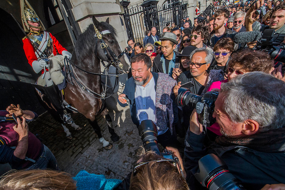 Both outside Horse Guards - Anish Kapoor and Ai Weiwei go for a walk in London - The two artists have joined hands to walk out of London on Thursday. Each will carry a single blanket as a symbol of the need that faces 60 million refugees in the world today. The Artists have said that they welcome Londoners to join them along their route and ask that Londoners too bring a blanket in gesture of support. The artists will repeat this action in cities across the world over the next few months. The walk started at 10am on Thursday 17th September, at the Royal Academy of Arts passed: Piccadilly Circus; Trafalgar Square; Whitehall;  St Paul's Cathedral; Bank and ended up at Stratford.