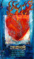 Sacred Heart mixed medium painting with Sanskrit prayer.