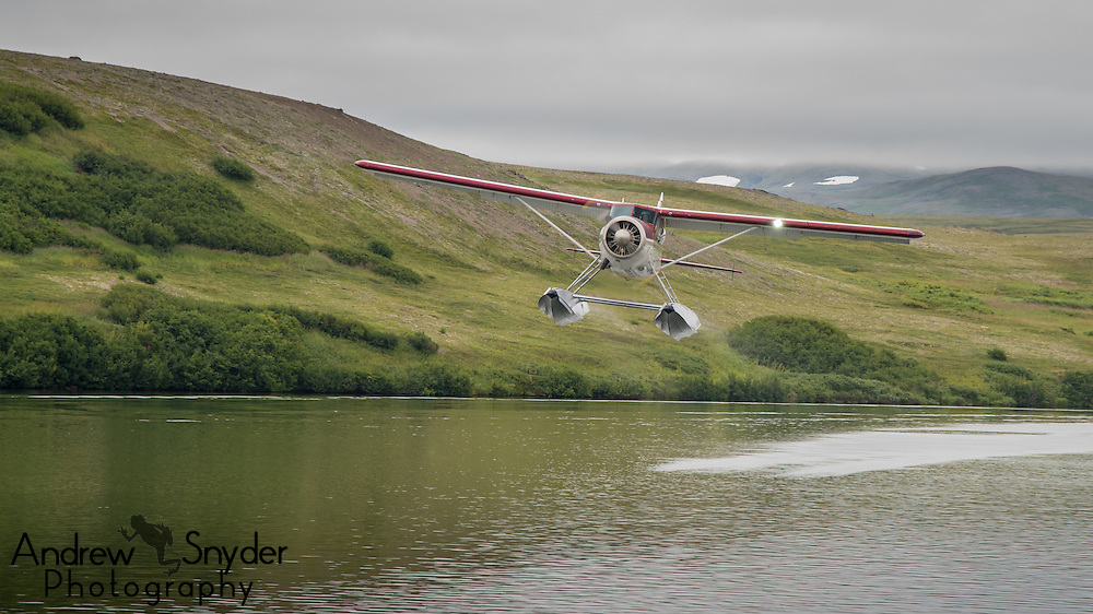 Our float plane, a 1954 Beaver, taking off after having dropped our group off - Katmai, Alaska