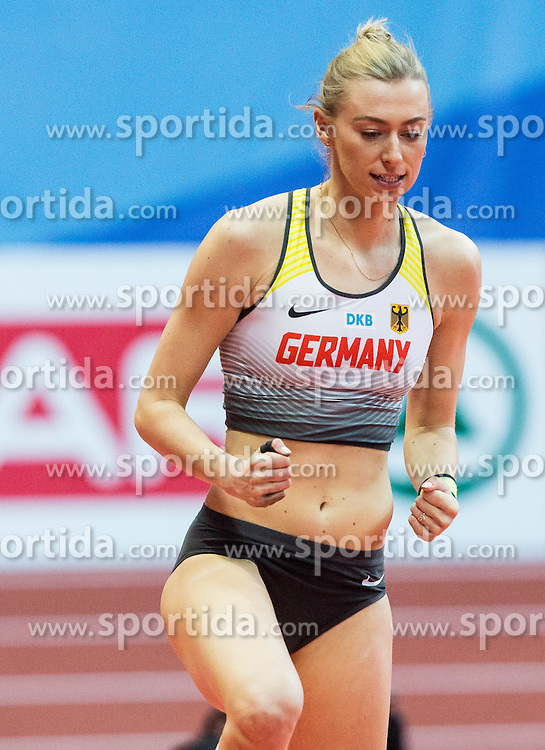 Lisa Ryzih of Germany competes in the Pole Vault Women Final on day two of the 2017 European Athletics Indoor Championships at the Kombank Arena on March 4, 2017 in Belgrade, Serbia. Photo by Vid Ponikvar / Sportida