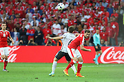 Switzerland Forward Admir Mehmedi battles with France Midfielder Yohan Cabaye during the Euro 2016 Group A match between Switzerland and France at Stade Pierre Mauroy, Lille, France on 19 June 2016. Photo by Phil Duncan.