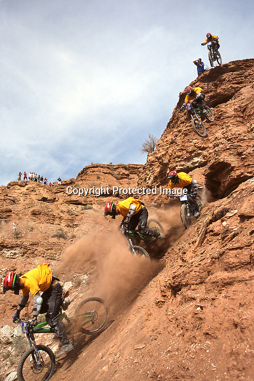 Super T Tyler Klassen drops 40 feet off a Virgin Utah cliff to win the 2002 Red Bull Rampage freeride mountain bike contest