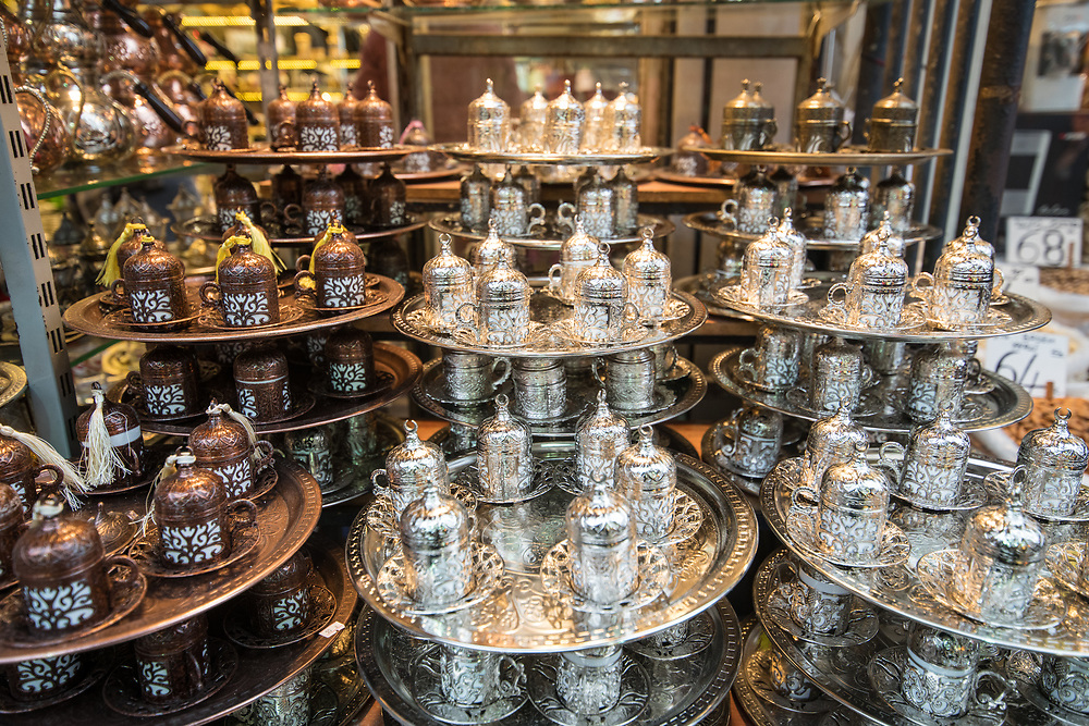 Beautiful Ottoman styled cups and saucers out on display for sale at Istanbul Spice bazaar in Turkey.
