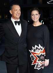 Tom Hanks and wife Rita Wilson arriving for the premiere of his new film Captain Phillips on the opening night of the London Film Festival, Wednesday, 9th October 2013. Picture by Stephen Lock / i-Images