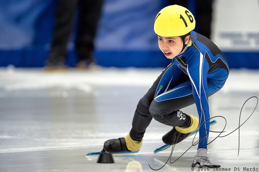 March 19, 2016 - Verona, WI - Nathalia Hurtado, skater number 161 competes in US Speedskating Short Track Age Group Nationals and AmCup Final held at the Verona Ice Arena.