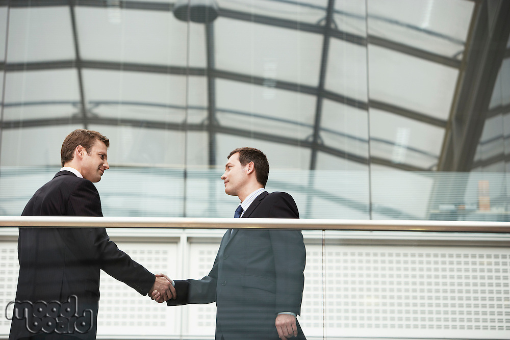 Two Businessmen Shaking Hands side view