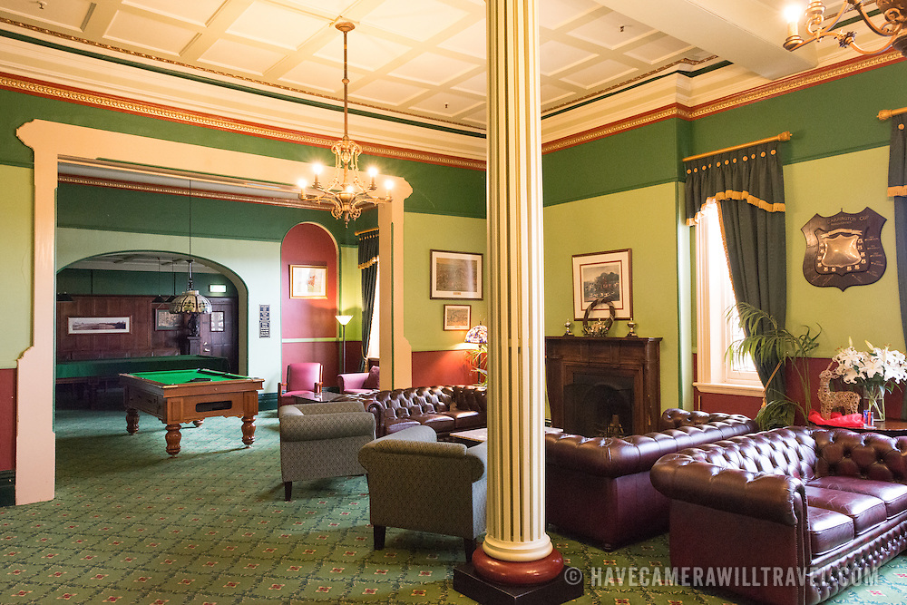 A pool room lounge inside the historic Carrington Hotel in Katoomba in the Blue Mountains of New South Wales, Australia. The Carrington is an historic hotel established in 1880.