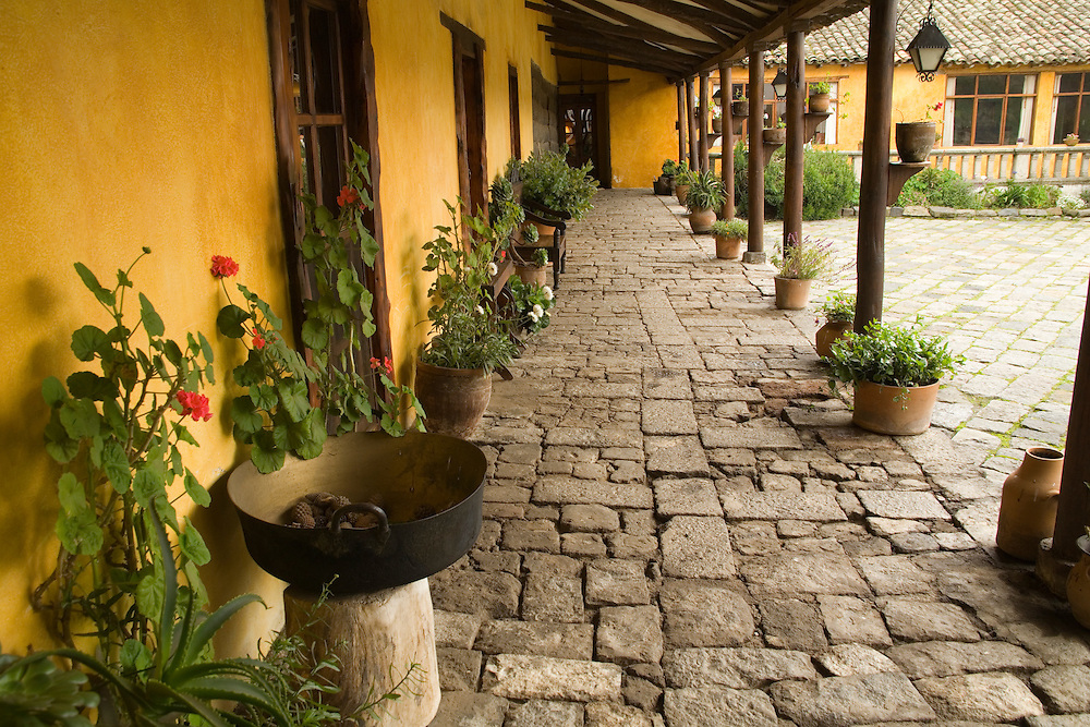 South America, Ecuador, Lasso, courtyard of Hacienda San Agustin de Callo   PR