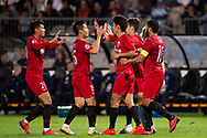 SYDNEY, AUSTRALIA - APRIL 10: Shanghai celebrate a goal at The AFC Champions League football game between Sydney FC and Shanghai SIPG FC on April 10, 2019, at Netstrata Jubilee Stadium in Sydney, Australia. (Photo by Speed Media/Icon Sportswire)