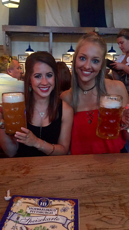 August 4-7, 2016, Pittsburgh, PA:<br /> Alaina Stipcak and Katie King at Hofbrau House during a trip to Pittsburgh Pennsylvania Thursday, August 4 through Sunday, August 7, 2016.<br /> (Photo by Billie Weiss)