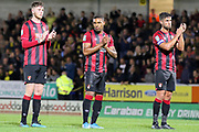 Bournemouth midfielder Jordon Ibe and team mates applaud supporters after the EFL Cup match between Burton Albion and Bournemouth at the Pirelli Stadium, Burton upon Trent, England on 25 September 2019.