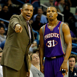 February 2, 2012; New Orleans, LA, USA; Phoenix Suns head coach Alvin Gentry talks with point guard Sebastian Telfair (31) during the second half of a game against the New Orleans Hornets at the New Orleans Arena. The Suns defeated the Hornets 120-103.  Mandatory Credit: Derick E. Hingle-US PRESSWIRE