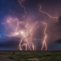 Cloud to ground lightning from a thunderstorm in western Kansas.