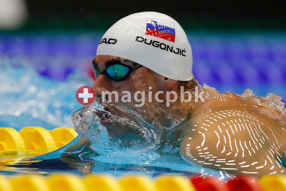 Damir DUGONJIC of Slovenia competes in the men's 50m Breaststroke Heats during the 17th European Short Course Swimming Championships held at the Jyske Bank BOXEN in Herning, Denmark, Saturday, Dec. 14, 2013. (Photo by Patrick B. Kraemer / MAGICPBK)