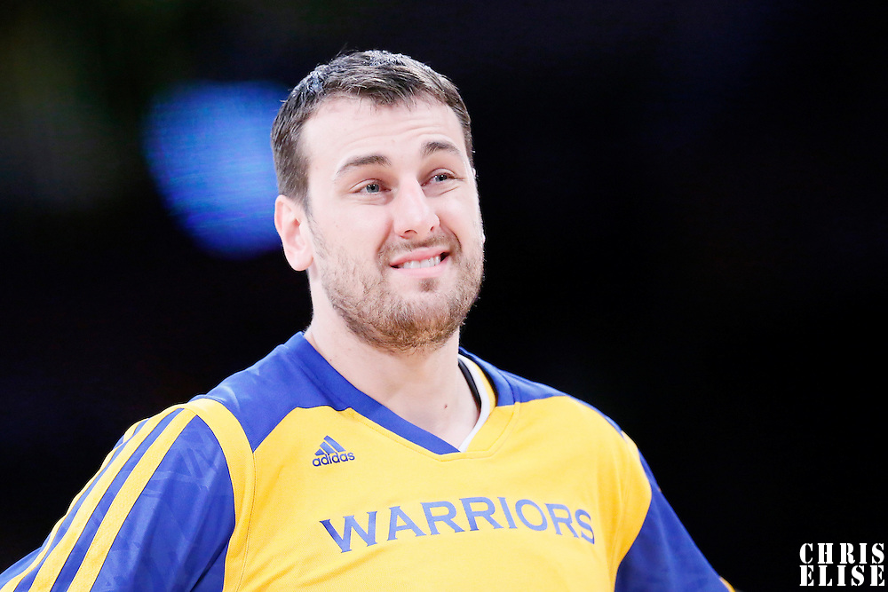 11 April 2014: Golden State Warriors center Andrew Bogut (12) warms up prior to the Golden State Warriors 112-95 victory over the Los Angeles Lakers at the Staples Center, Los Angeles, California, USA.