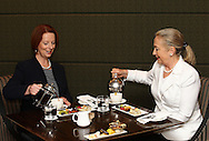 PERTH, AUSTRALIA - NOVEMBER 13:  The Prime Minister of Australia Julia Gillard and the US Secretary of State Hillary Clinton enjoy afternoon tea during the annual Australia-United States Ministerial Consultations at the Hyatt Hotel on November 13, 2012 in Perth, Australia.  (Photo by Paul Kane/Getty Images) *** Local Caption *** Julia Gillard; Hillary Clinton