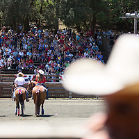 Spectators watch as The Mounted Patrol of San Mateo County, center left, greets guests during a grand entry at the annual junior rodeo in Woodside.