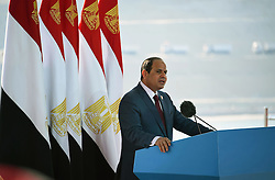 06.08.2015, Sueskanal, EGY, Sueskanal Kanal Erweiterung, im Bild Feierlichkieiten zur Sueskanal Erweiterung // Egyptian President Abdel Fattah al-Sisi gives a speech during the inauguration ceremony of the new Suez Canal, in Ismailia, Egypt, August 6, 2015. Egypt staged a show of international support on Thursday as it inaugurated a major extension of the Suez Canal which President Abdel Fattah al-Sisi hopes will power an economic turnaround in the Arab world's most populous country, Egypt on 2015/08/06. EXPA Pictures © 2015, PhotoCredit: EXPA/ APAimages/ Egyptian President Office<br /> <br /> *****ATTENTION - for AUT, GER, SUI, ITA, POL, CRO, SRB only*****
