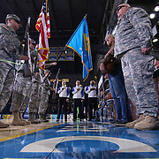 The Delaware ROTC presents colors prior a NBA D-league regular season basketball game between the Delaware 87ers and the Erie BayHawk (Orlando Magic) Friday, Mar. 27, 2015 at The Bob Carpenter Sports Convocation Center in Newark, DEL.