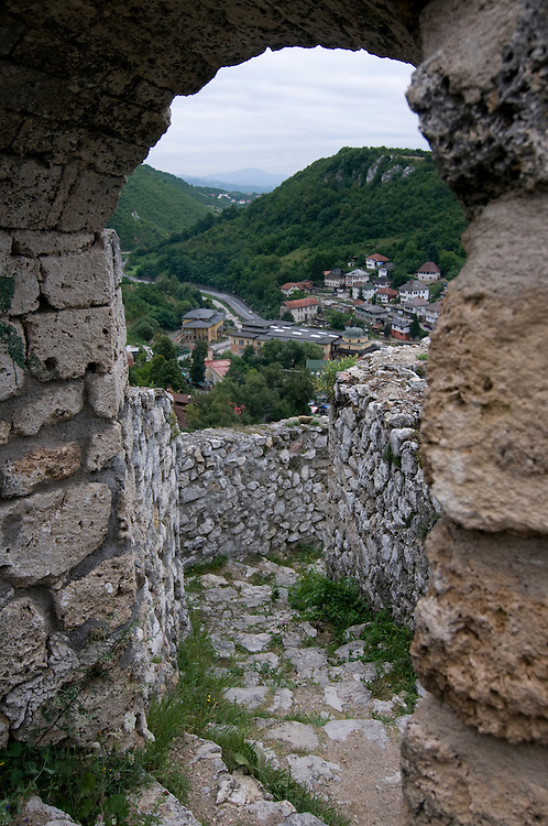 View through window of Medieval Castle to settlement. Travnik. Bosnia. Eastern Europe.