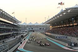 Motorsports / Formula 1: World Championship 2010, GP of Abu Dhabi, 05 Sebastian Vettel (GER, Red Bull Racing), 02 Lewis Hamilton (GBR, Vodafone McLaren Mercedes), 01 Jenson Button (GBR, Vodafone McLaren Mercedes), 08 Fernando Alonso (ESP, Scuderia Ferrari Marlboro),  start, mass, Masse, Menge