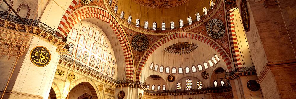 TURKEY, ISTANBUL, OTTOMAN Suleymaniye Mosque; interior
