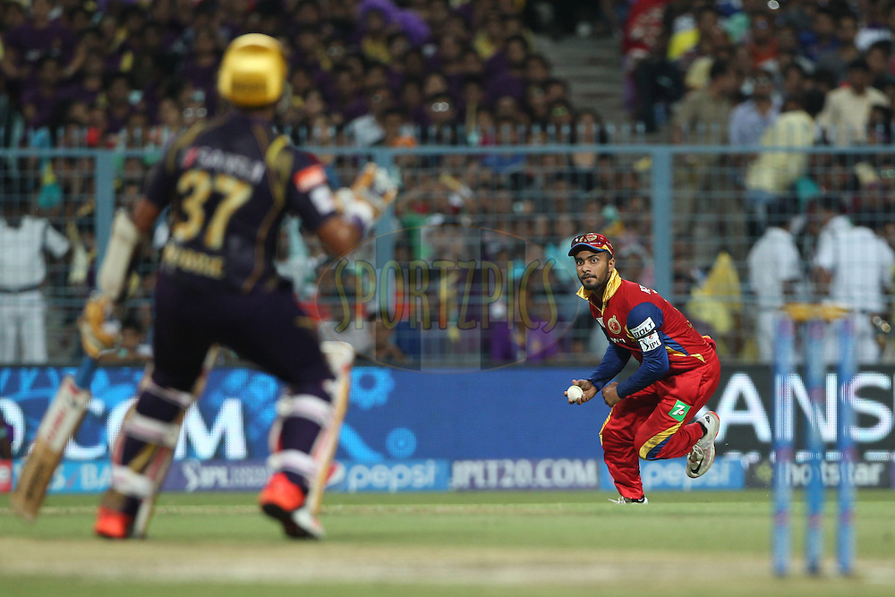 Mandeep Singh of the Royal Challengers Bangalore reacts during match 5 of the Pepsi IPL 2015 (Indian Premier League) between The Kolkata Knight Riders and The Royal Challengers Bangalore held at Eden Gardens Stadium in Kolkata, India on the 11th April 2015.<br /> <br /> Photo by:  Deepak Malik / SPORTZPICS / IPL