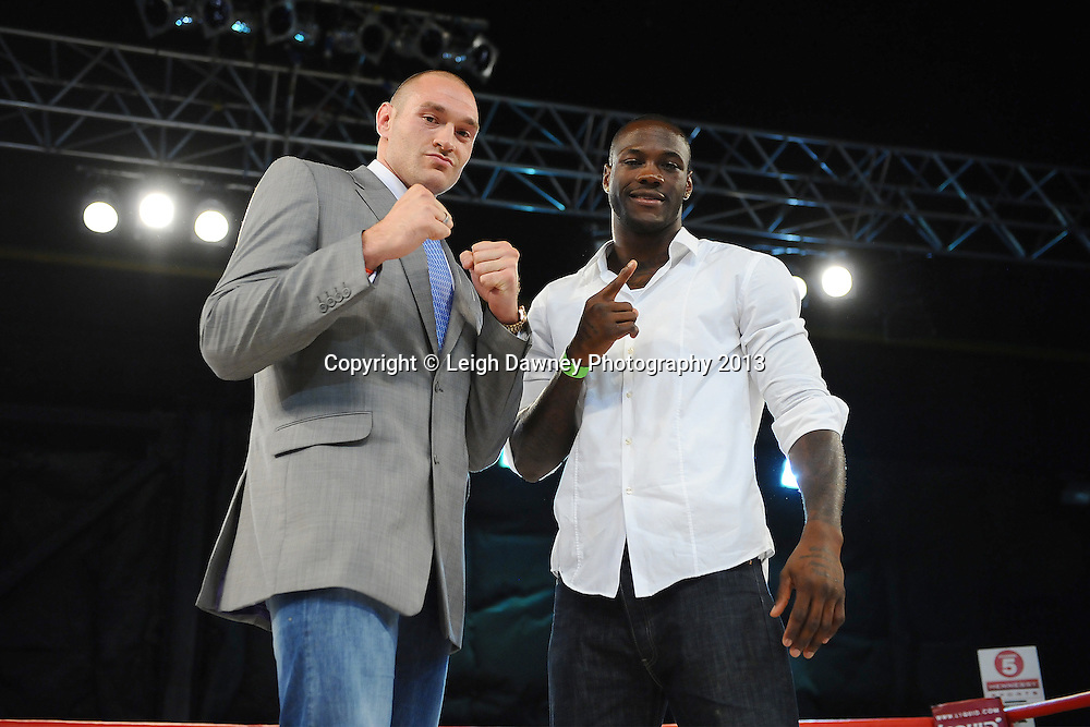 Tyson Fury & Deontay Wilder pictured after Tyson Fury took to the stage publicly discussing his forthcoming fight against David Haye.  Saturday 14th September 2013 at the Magna Centre, Rotherham. Hennessy Sports.  © Credit: Leigh Dawney Photography.