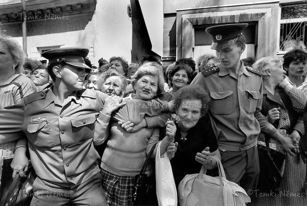 Slovakia, 16 May 1990 - Ruzomberok.People waiting for the arrival of the Presidential motorcade..