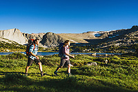 Backpackers Alexa Ault and Kevin Luby explore the Stough Lakes area of the Wind River Range, Wyoming.
