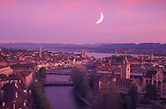 City of Zuerich with Alps  and Lake Zuerich, Zuerich Canton, Switzerland