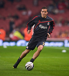 LONDON, ENGLAND - Wednesday, October 28, 2009: Liverpool's Philipp Degen warms-up before the League Cup 4th Round match against Arsenal at Emirates Stadium. (Photo by David Rawcliffe/Propaganda)