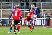Carlisle United Defender Michael Raynes and Exeter City Midfielder David Wheeler battle during the Sky Bet League 2 match between Carlisle United and Exeter City at Brunton Park, Carlisle, England on 17 October 2015. Photo by Craig McAllister.