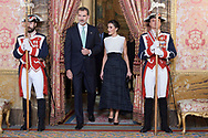 King Felipe VI of Spain, Queen Letizia of Spain attends United Nations Conference on Climate Change (COP25) reception at Royal Palace on December 2, 2019 in Madrid, Spain