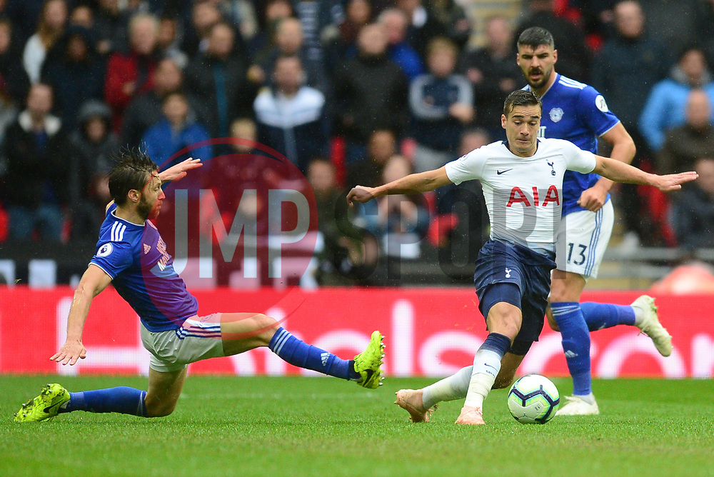 Harry Winks of Tottenham Hotspur in action with Harry Arter of Cardiff City - Mandatory by-line: Alex James/JMP - 06/10/2018 - FOOTBALL - Wembley Stadium - London, England - Tottenham Hotspur v Cardiff City - Premier League