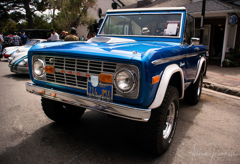 Classic blue Bronco seen at the Carmel-by-the-Sea Concours on the Avenue event during Monterey Car Week