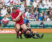 Twickenham, Surrey United Kingdom. Canadian, Adam ZARUBA, &quot;clutches the ball' during the  Poll C match, Wales vs New Zealand, at the  &quot;2017 HSBC London Rugby Sevens&quot;,  Saturday 20/05/2017 RFU. Twickenham Stadium, England    <br /> <br /> [Mandatory Credit Peter SPURRIER/Intersport Images]