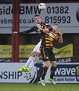 Dundee's Kyle Benedictus out jumps Alloa Athletic's Ross Caldwell - Dundee v Alloa Athletic, SPFL Championship at Dens Park<br /> <br />  - &copy; David Young - www.davidyoungphoto.co.uk - email: davidyoungphoto@gmail.com