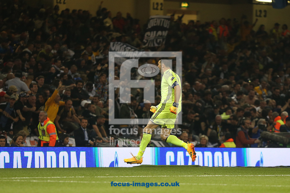 Gianluigi Buffon of Juventus celebrates his side's 1st goal during the UEFA Champions League Final at the Principality Stadium, Cardiff<br /> Picture by Paul Chesterton/Focus Images Ltd +44 7904 640267<br /> 03/06/2017