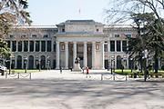 Museo del Prado museum, exterior seen from the Paseo del Prado, Madrid, Spain