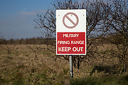 Military firing range Keep Out sign, Imber Range, Salisbury Plain military training area, Wiltshire, England, UK