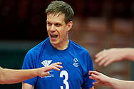 Katowice, Poland - 2017 September 02: Athlete Saku Suikkanen from SO Finland celebrates winning point for his team while SO Azerbaijan versus SO Finland match during European Unified Volleyball Tournament 2017 at Spodek Hall on September 02, 2017 in Katowice, Poland.<br /> <br /> Adam Nurkiewicz declares that he has no rights to the image of people at the photographs of his authorship.<br /> <br /> Picture also available in RAW (NEF) or TIFF format on special request.<br /> <br /> Any editorial, commercial or promotional use requires written permission from the author of image.<br /> <br /> Image can be used in the press when the method of use and the signature does not hurt people on the picture.<br /> <br /> Mandatory credit:<br /> Photo by © Adam Nurkiewicz / Mediasport