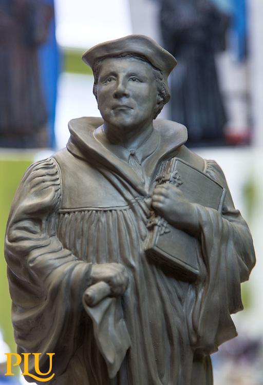 Martin Luther sculpture at PLU, Monday, Aug. 15, 2016. (Photo: John Froschauer/PLU)