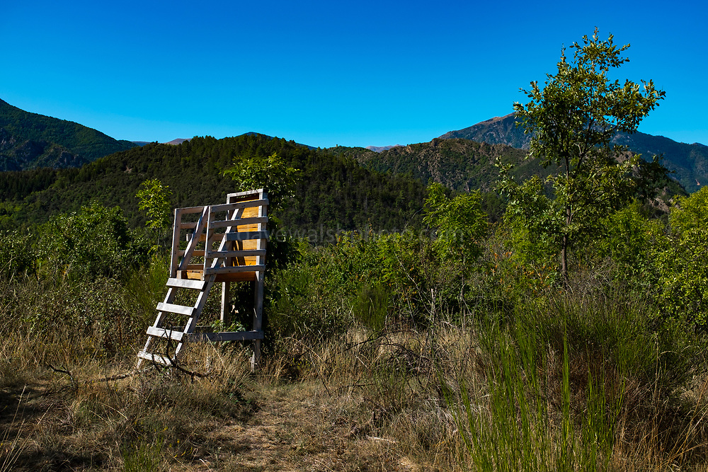 Hunting blind - Canigou mountain, Vernet Les Bains. Hunting has been a controversial issue in France, after a number of accidental deaths.
