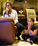 (left to right) Bhavi Suri, age 16, and Abira Kaur, age 9, watch as American Idol contestant Gurpreet Singh Sarin does not make it into the top 20 at a watch party hosted by the Sikh Coalition in Southlake on Thursday, February 28, 2013. (Cooper Neill/The Dallas Morning News)