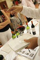 wine tasting of organic wines during Vinexpo in Bordeaux..photograph by Owen Franken.