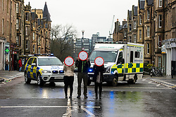 Pictured: Three clocks show that every nine minutes an accident happens.<br /> The &quot;In Town, Slow Down&quot;  road safety campaign was launched today in Edinburgh to encourage drivers to watch their speed in built-up areas, amid figures showing someone is stopped for speeding in Scotland every nine minutes. Superintendent Fraser Candlish from Police Scotland, and John Alexander from Scottish Ambulance Service were on hand to help with the launch<br /> Ger Harley | EEm 7 February 2017